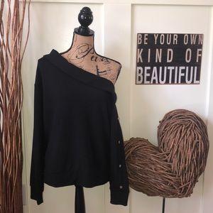 Jennifer Lopez black one shoulder snap sweatshirt